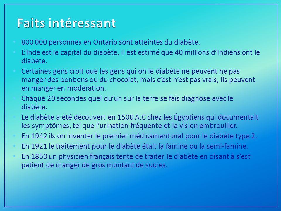 800 000 personnes en Ontario sont atteintes du diabète.