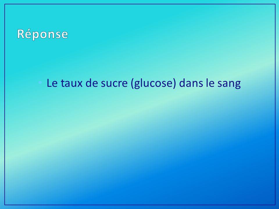 Le taux de sucre (glucose) dans le sang