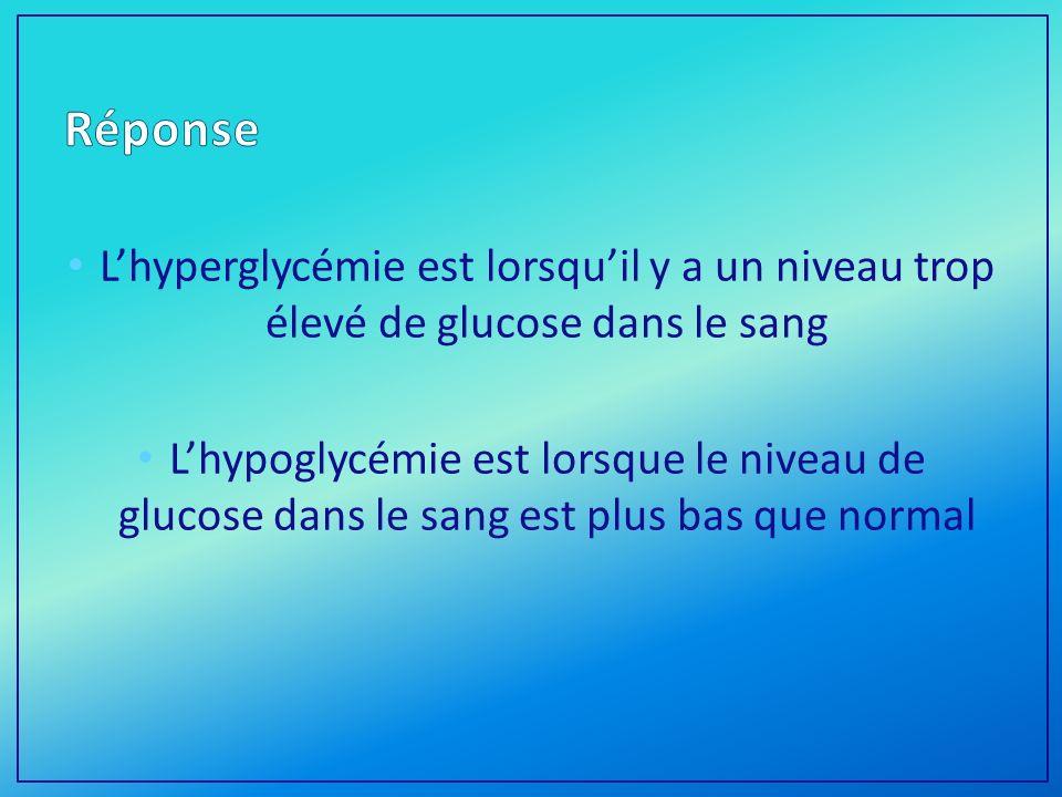 Lhyperglycémie est lorsquil y a un niveau trop élevé de glucose dans le sang Lhypoglycémie est lorsque le niveau de glucose dans le sang est plus bas que normal