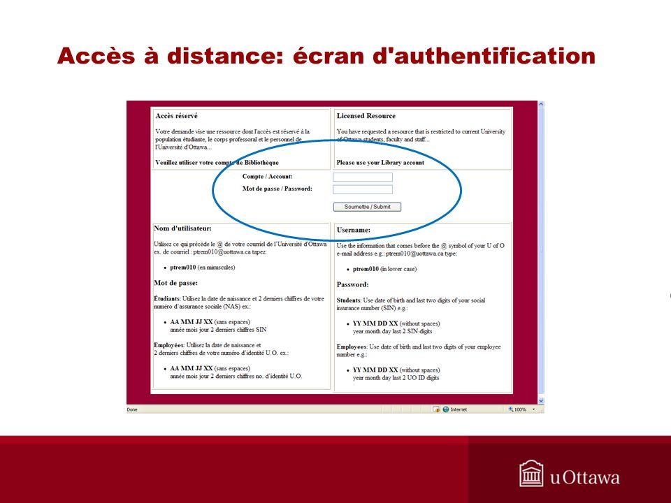 Accès à distance: écran d authentification