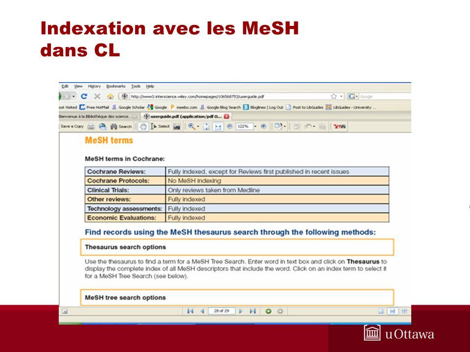 Indexation avec les MeSH dans CL