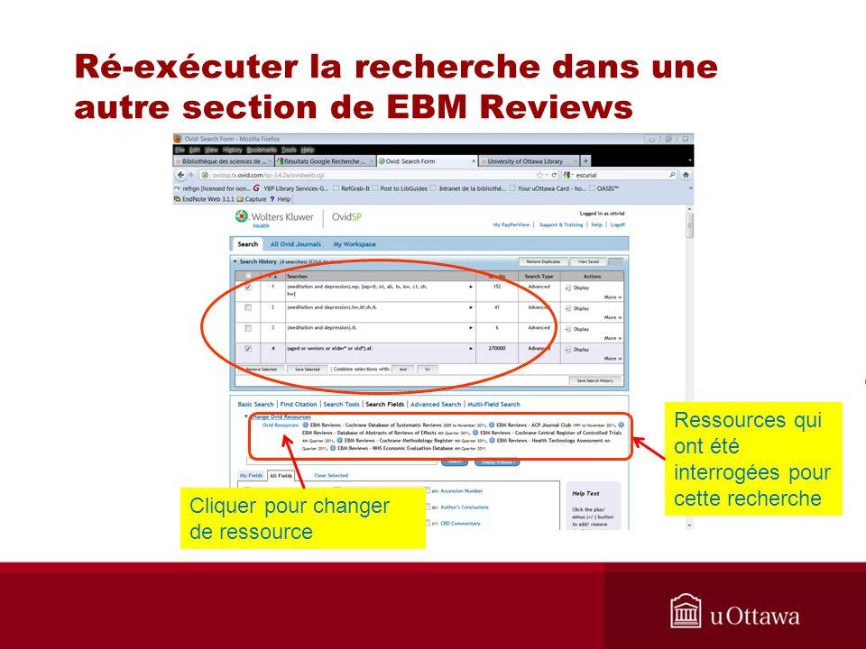 Ré-exécuter la recherche dans une autre section de EBM Reviews Ressources qui ont été interrogées pour cette recherche Cliquer pour changer de ressource