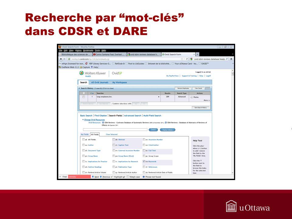 Recherche par mot-clés dans CDSR et DARE