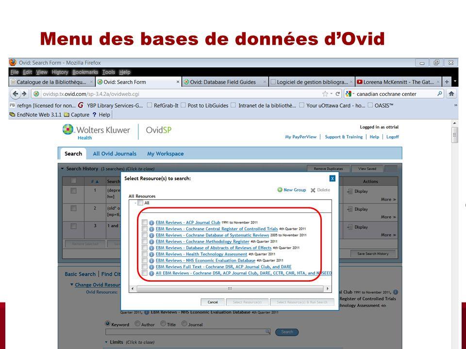 Menu des bases de données dOvid