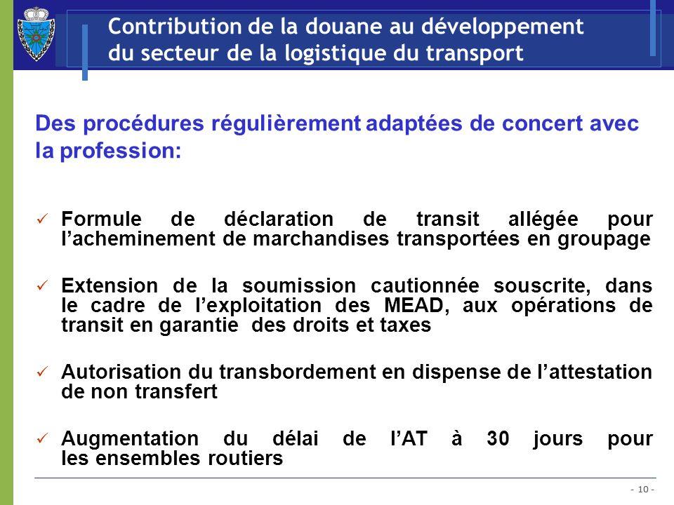 - 10 - Contribution de la douane au développement du secteur de la logistique du transport Des procédures régulièrement adaptées de concert avec la pr