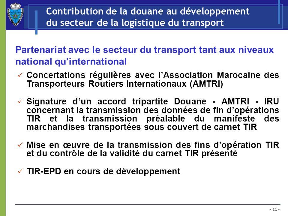 - 11 - Contribution de la douane au développement du secteur de la logistique du transport Partenariat avec le secteur du transport tant aux niveaux n