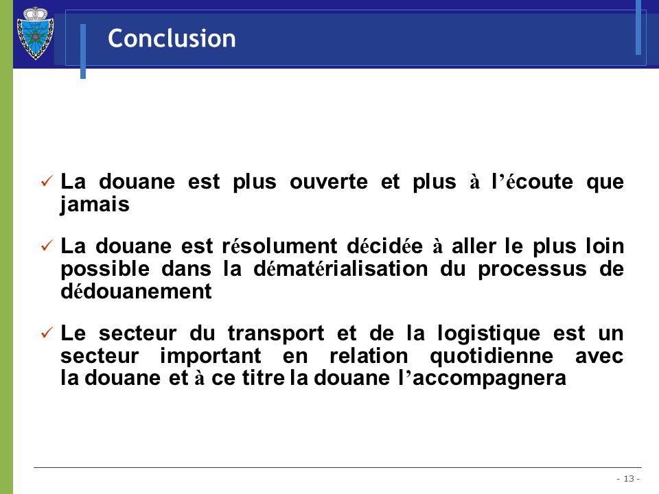 - 13 - Conclusion La douane est plus ouverte et plus à l é coute que jamais La douane est r é solument d é cid é e à aller le plus loin possible dans