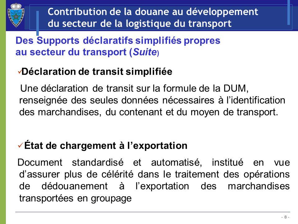 - 9 - Contribution de la douane au développement du secteur de la logistique du transport Le développement des Magasins et Aires de Dédouanement (MEAD): Aujourdhui au nombre de 54
