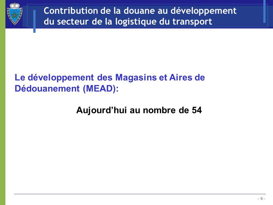 - 9 - Contribution de la douane au développement du secteur de la logistique du transport Le développement des Magasins et Aires de Dédouanement (MEAD