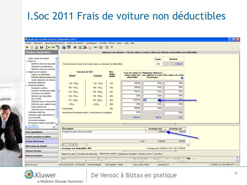 De Vensoc à Biztax en pratique 10 I.Soc 2011 Frais de voiture non déductibles