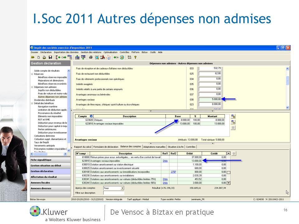 De Vensoc à Biztax en pratique 16 I.Soc 2011 Autres dépenses non admises