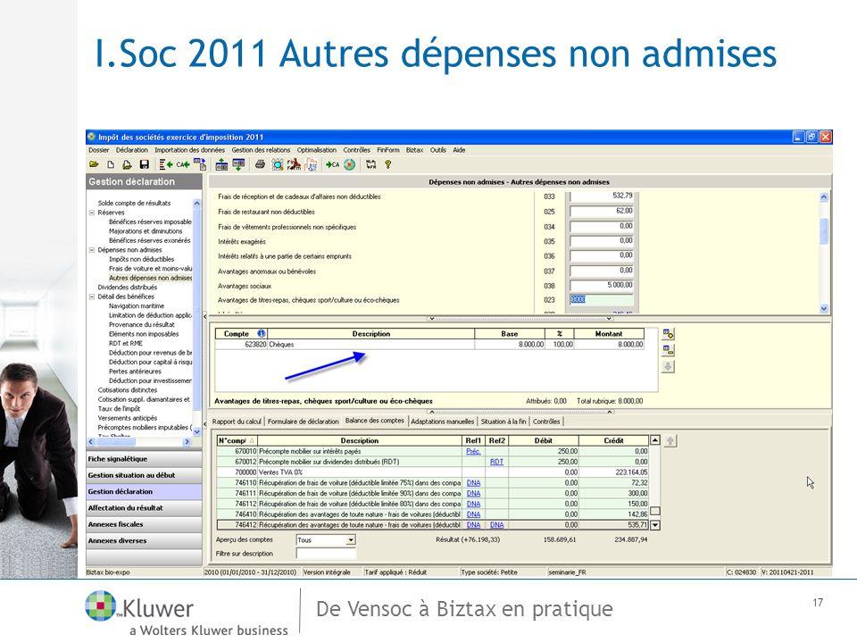 De Vensoc à Biztax en pratique 17 I.Soc 2011 Autres dépenses non admises
