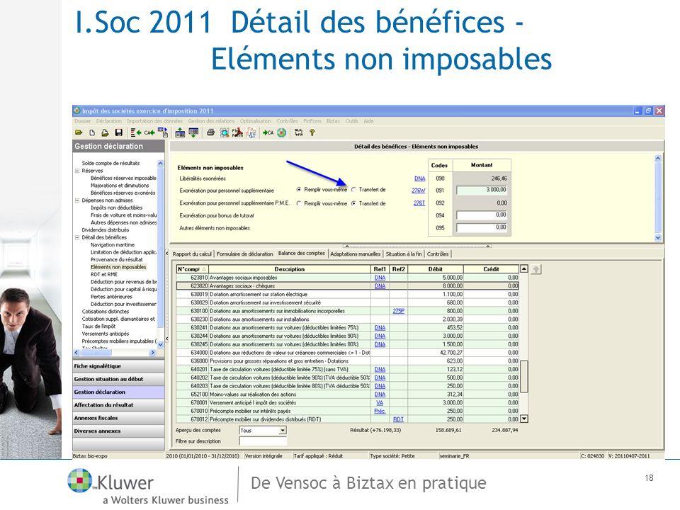 De Vensoc à Biztax en pratique 18 I.Soc 2011 Détail des bénéfices - Eléments non imposables