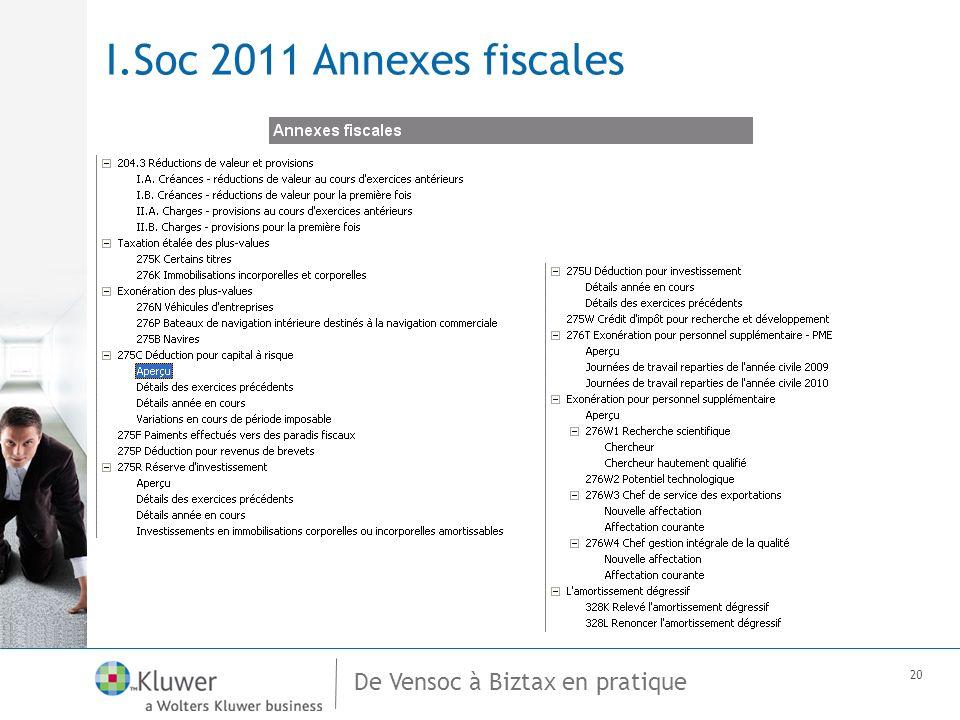 De Vensoc à Biztax en pratique 20 I.Soc 2011 Annexes fiscales
