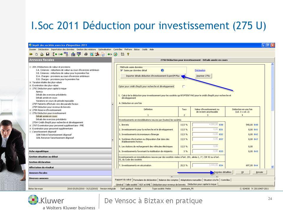 De Vensoc à Biztax en pratique 24 I.Soc 2011 Déduction pour investissement (275 U)
