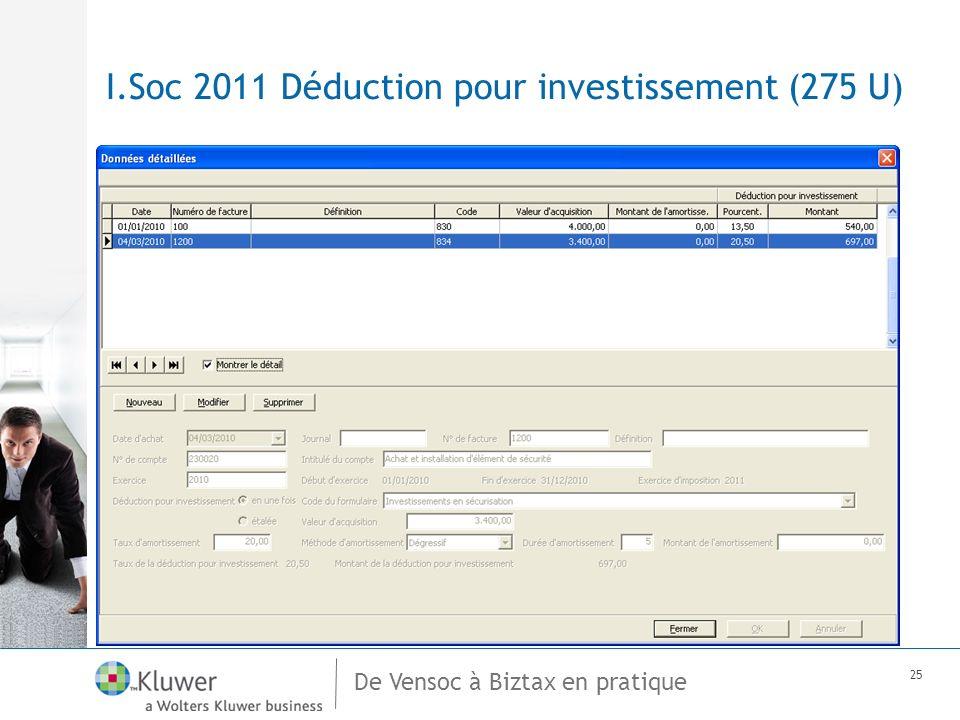 De Vensoc à Biztax en pratique 25 I.Soc 2011 Déduction pour investissement (275 U)