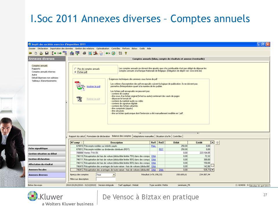 De Vensoc à Biztax en pratique 27 I.Soc 2011 Annexes diverses – Comptes annuels