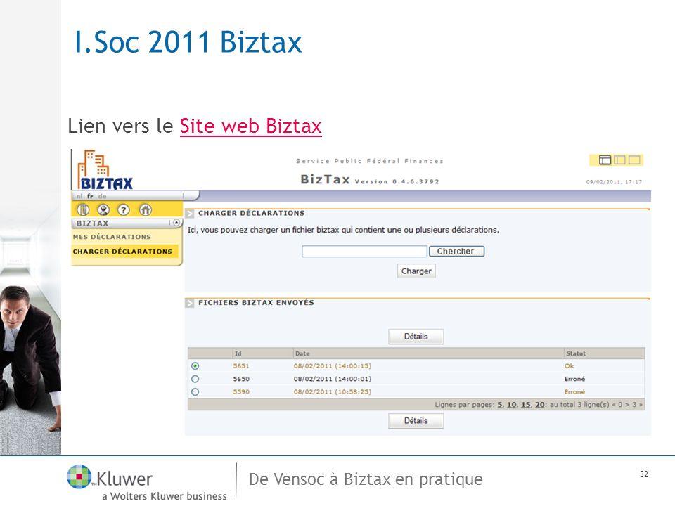 De Vensoc à Biztax en pratique 32 I.Soc 2011 Biztax Lien vers le Site web BiztaxSite web Biztax
