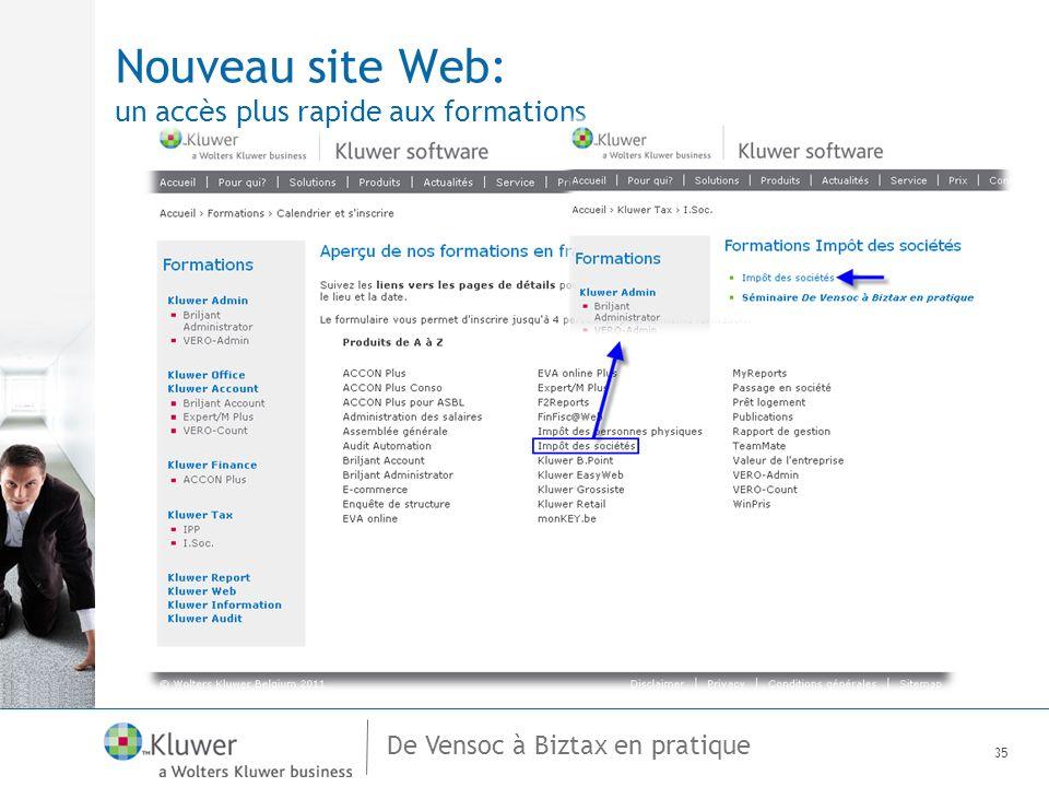 De Vensoc à Biztax en pratique Nouveau site Web: un accès plus rapide aux formations 35