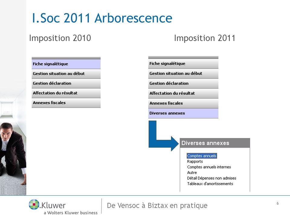 De Vensoc à Biztax en pratique 6 I.Soc 2011 Arborescence Imposition 2010Imposition 2011