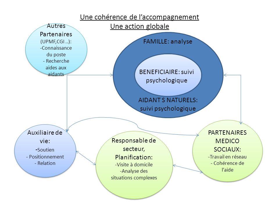 Une cohérence de laccompagnement Une action globale BENEFICIAIRE: suivi psychologique FAMILLE: analyse AIDANT S NATURELS: suivi psychologique Auxiliai