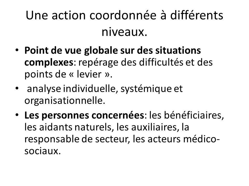 Une action coordonnée à différents niveaux. Point de vue globale sur des situations complexes: repérage des difficultés et des points de « levier ». a
