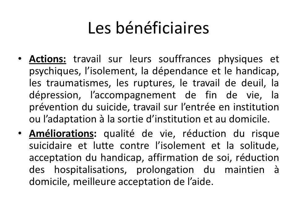 Les bénéficiaires Actions: travail sur leurs souffrances physiques et psychiques, lisolement, la dépendance et le handicap, les traumatismes, les rupt