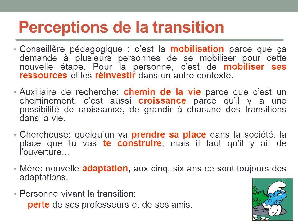 Perceptions de la transition Conseillère pédagogique : cest la mobilisation parce que ça demande à plusieurs personnes de se mobiliser pour cette nouv