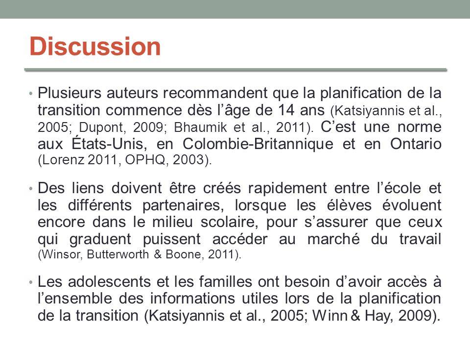 Discussion Plusieurs auteurs recommandent que la planification de la transition commence dès lâge de 14 ans (Katsiyannis et al., 2005; Dupont, 2009; B
