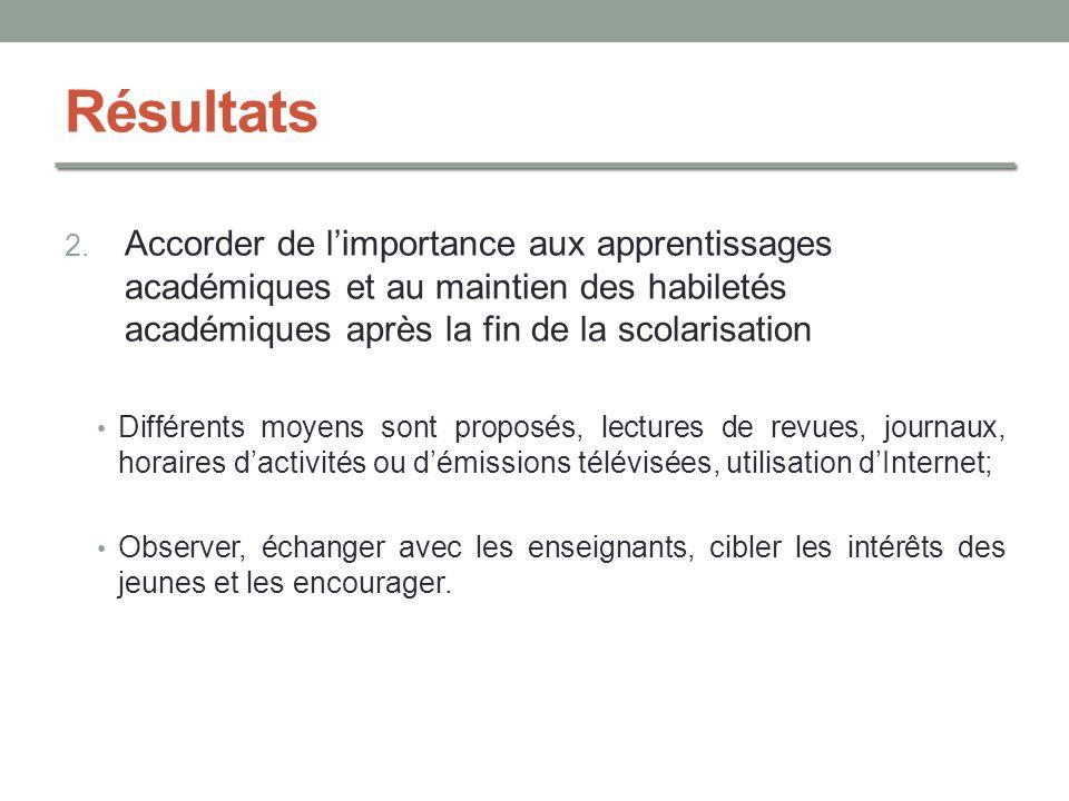 Résultats 2. Accorder de limportance aux apprentissages académiques et au maintien des habiletés académiques après la fin de la scolarisation Différen