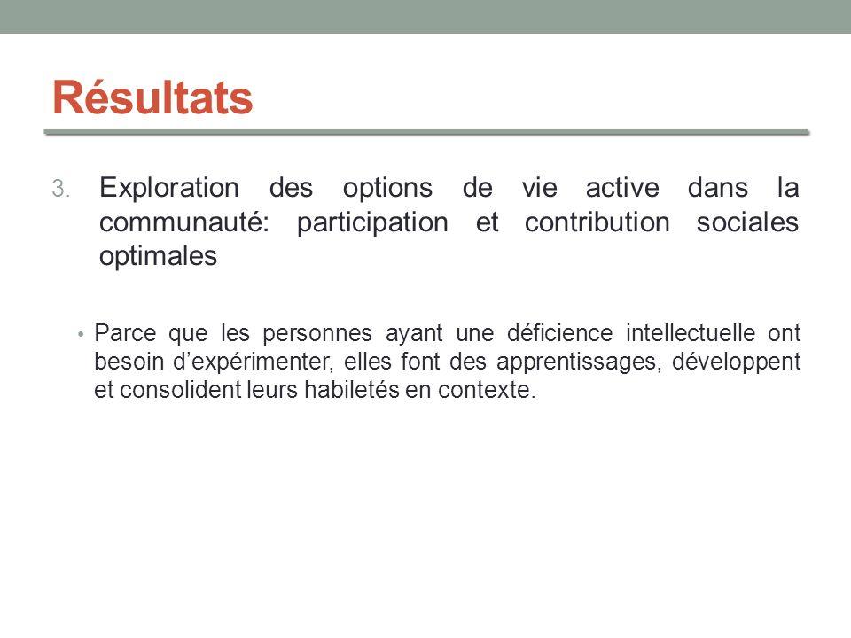 Résultats 3. Exploration des options de vie active dans la communauté: participation et contribution sociales optimales Parce que les personnes ayant