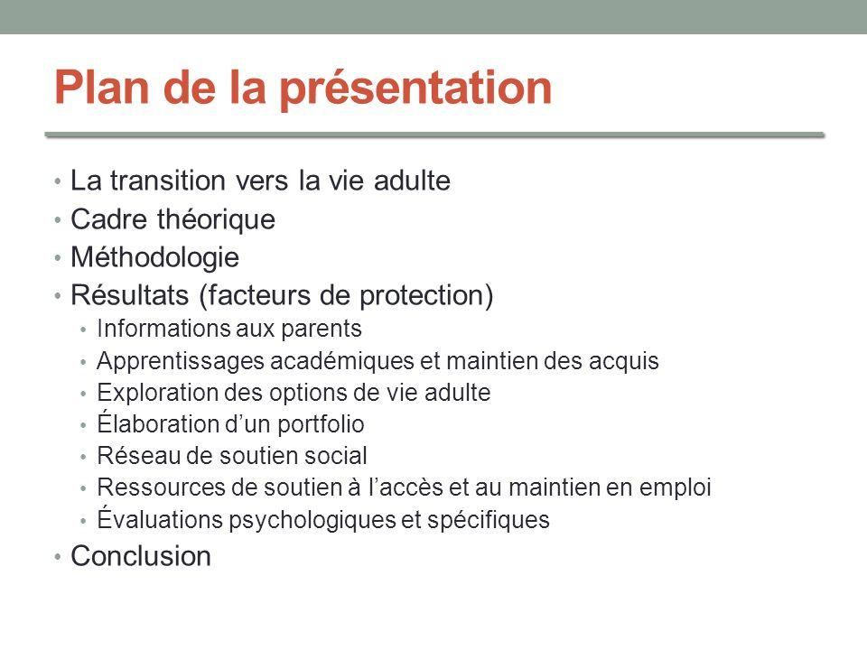 Plan de la présentation La transition vers la vie adulte Cadre théorique Méthodologie Résultats (facteurs de protection) Informations aux parents Appr