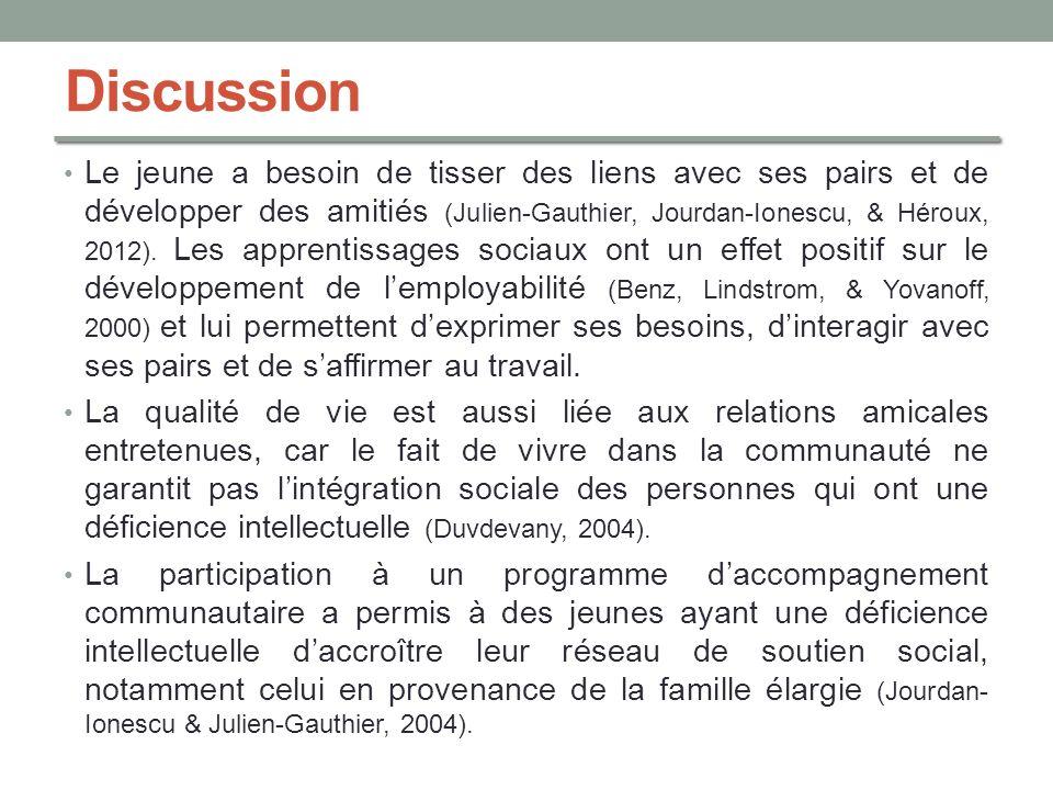 Discussion Le jeune a besoin de tisser des liens avec ses pairs et de développer des amitiés (Julien-Gauthier, Jourdan-Ionescu, & Héroux, 2012). Les a