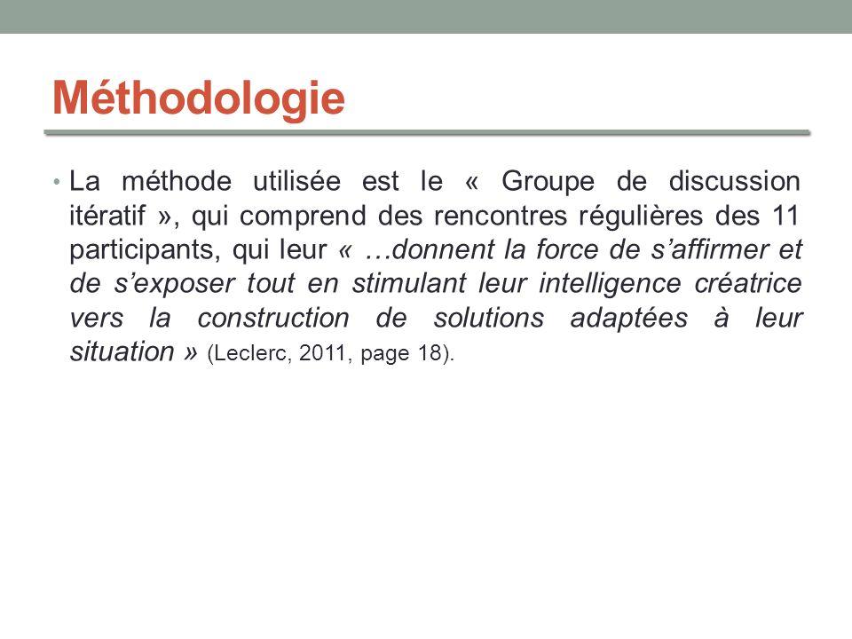 Méthodologie La méthode utilisée est le « Groupe de discussion itératif », qui comprend des rencontres régulières des 11 participants, qui leur « …don