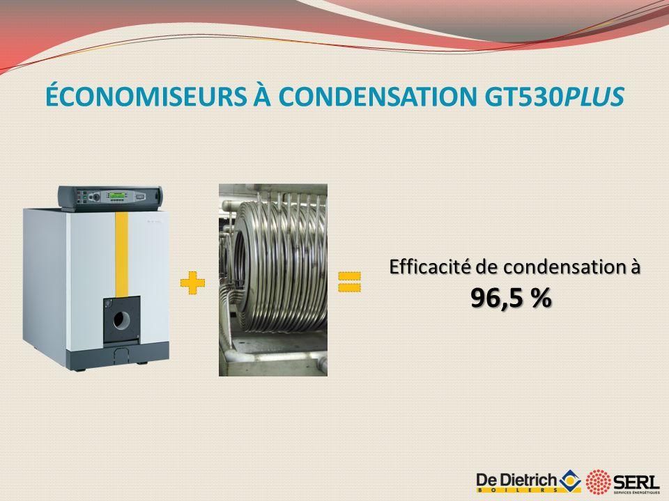 Efficacité de condensation à 96,5 % ÉCONOMISEURS À CONDENSATION GT530PLUS