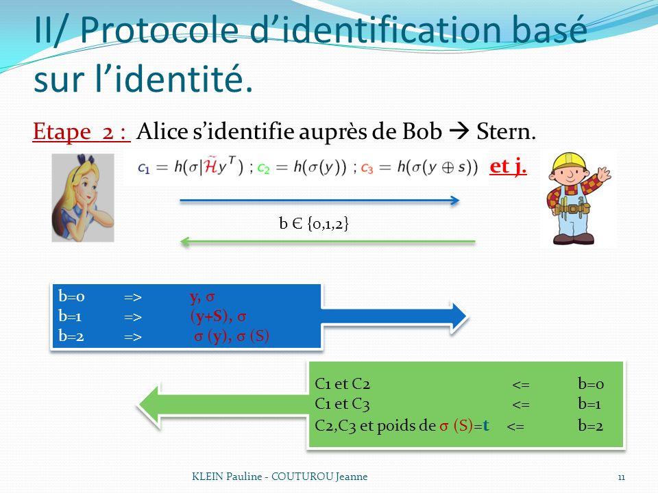 II/ Protocole didentification basé sur lidentité. Etape 2 : Alice sidentifie auprès de Bob Stern. et j. KLEIN Pauline - COUTUROU Jeanne11 b Є {0,1,2}