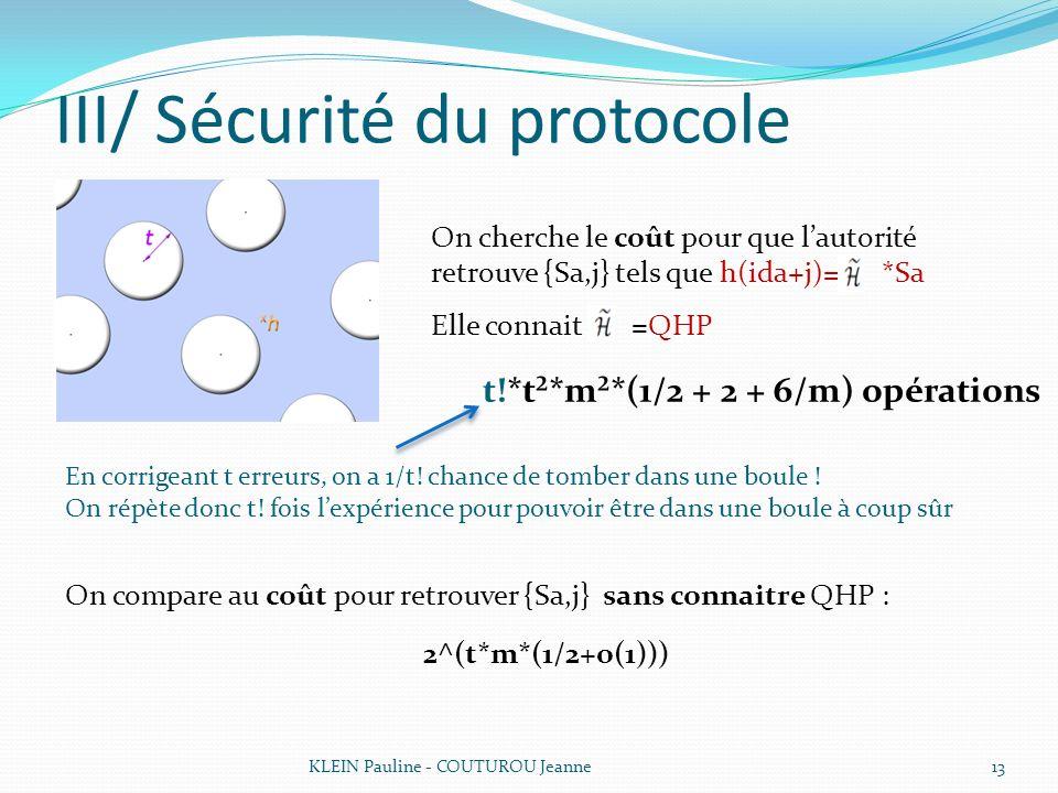 III/ Sécurité du protocole KLEIN Pauline - COUTUROU Jeanne13 On cherche le coût pour que lautorité retrouve {Sa,j} tels que h(ida+j)= *Sa Elle connait