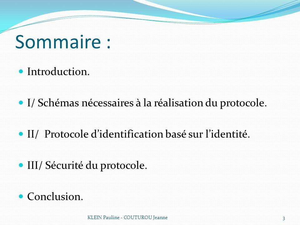 III/ Sécurité du protocole On utilise la famille de code de Goppa pour résoudre le Schéma de CFS => matrices de la forme : KLEIN Pauline - COUTUROU Jeanne14 h(ida+j)= *Sa Clé publique Clé privée