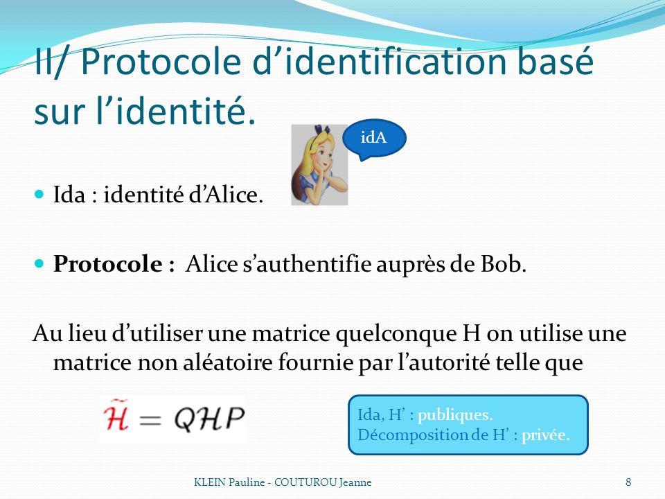 II/ Protocole didentification basé sur lidentité. Ida : identité dAlice. Protocole : Alice sauthentifie auprès de Bob. Au lieu dutiliser une matrice q