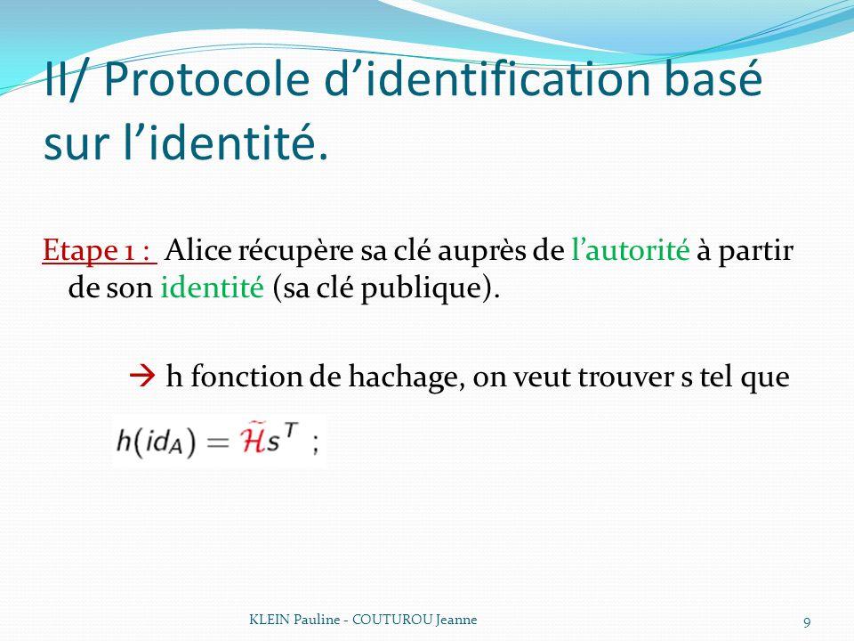 II/ Protocole didentification basé sur lidentité. Etape 1 : Alice récupère sa clé auprès de lautorité à partir de son identité (sa clé publique). h fo