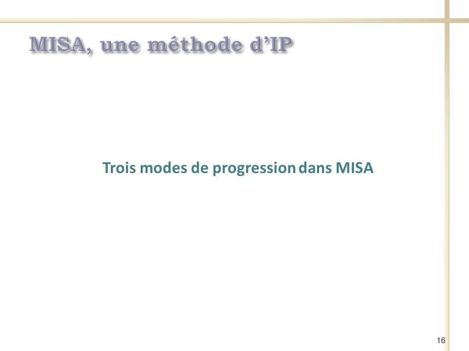 Trois modes de progression dans MISA 16