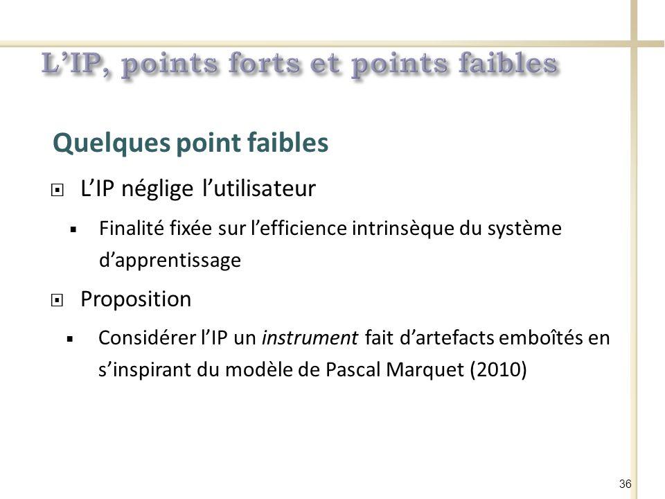 Quelques point faibles LIP néglige lutilisateur Finalité fixée sur lefficience intrinsèque du système dapprentissage Proposition Considérer lIP un instrument fait dartefacts emboîtés en sinspirant du modèle de Pascal Marquet (2010) 36