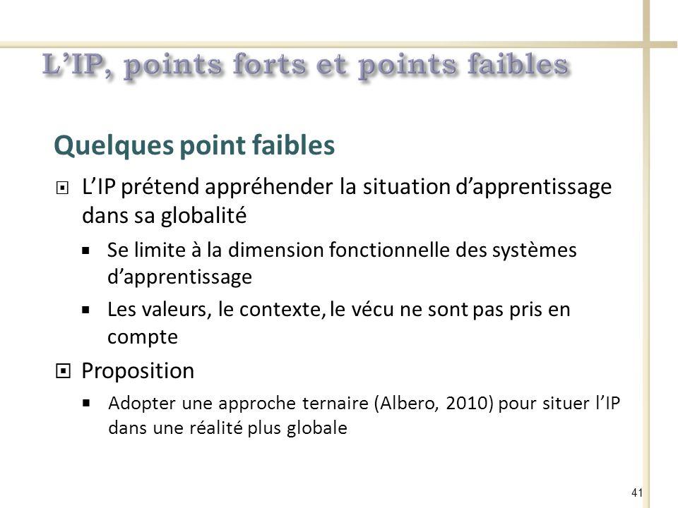 Quelques point faibles LIP prétend appréhender la situation dapprentissage dans sa globalité Se limite à la dimension fonctionnelle des systèmes dapprentissage Les valeurs, le contexte, le vécu ne sont pas pris en compte Proposition Adopter une approche ternaire (Albero, 2010) pour situer lIP dans une réalité plus globale 41