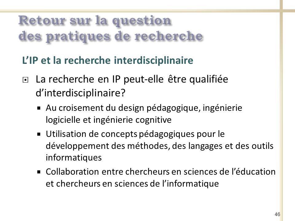 LIP et la recherche interdisciplinaire La recherche en IP peut-elle être qualifiée dinterdisciplinaire.