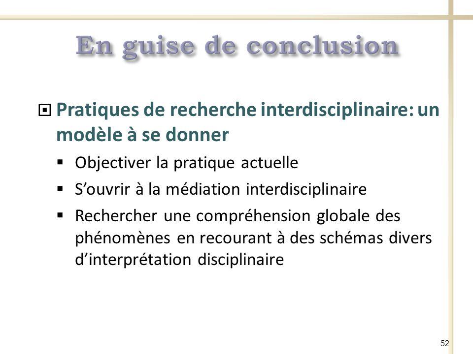 Pratiques de recherche interdisciplinaire: un modèle à se donner Objectiver la pratique actuelle Souvrir à la médiation interdisciplinaire Rechercher une compréhension globale des phénomènes en recourant à des schémas divers dinterprétation disciplinaire 52