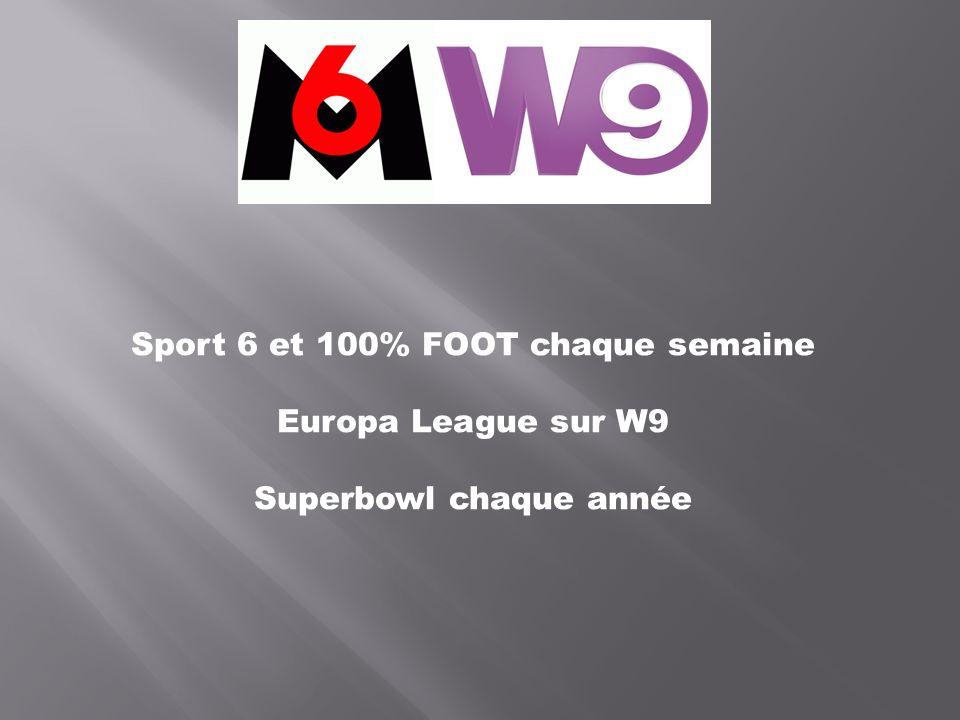 Sport 6 et 100% FOOT chaque semaine Europa League sur W9 Superbowl chaque année