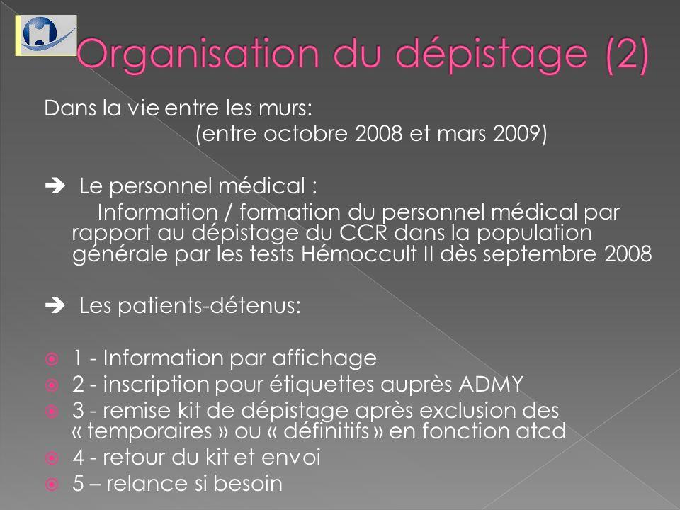 Dans la vie entre les murs: (entre octobre 2008 et mars 2009) Le personnel médical : Information / formation du personnel médical par rapport au dépis