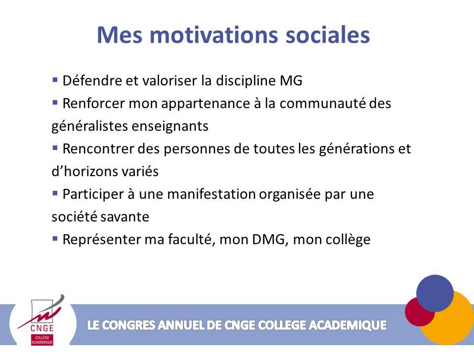 Mes motivations sociales Défendre et valoriser la discipline MG Renforcer mon appartenance à la communauté des généralistes enseignants Rencontrer des