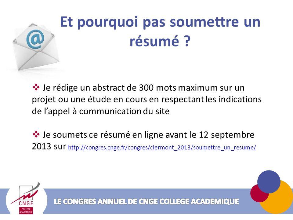 Participer au congrès de CNGE Collège Académique, cest sympa !