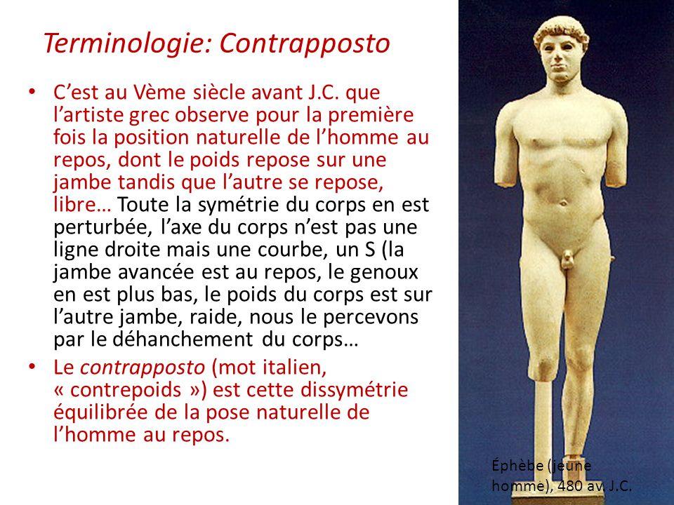 Éphèbe (jeune homme), 480 av. J.C. Cest au Vème siècle avant J.C. que lartiste grec observe pour la première fois la position naturelle de lhomme au r